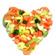 Fresh vegetables in a heart shape — Stock Photo
