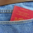 Going on holiday - British passport in back pocket — Stock Photo #5297633