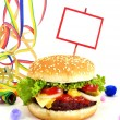 Cheeseburger party food scene — Stock Photo