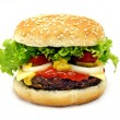 Cheeseburger isolated on white background -  