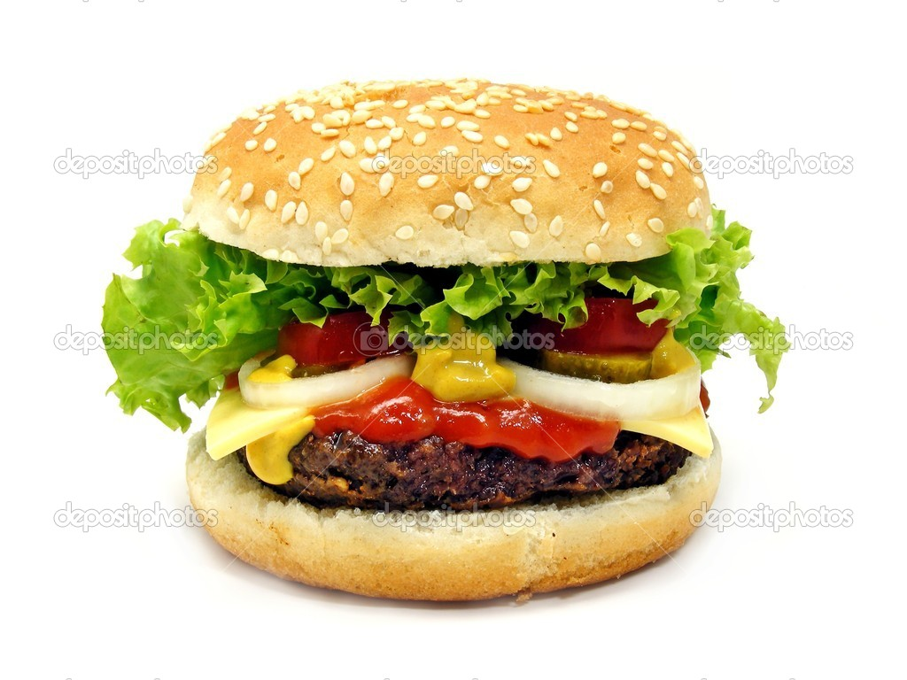 Cheeseburger close up on a white background — Stock Photo #5362025
