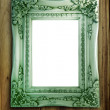 Antique Frame On Wood — 图库照片