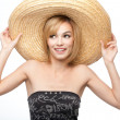 Young woman with a sombrero hat — Stock Photo