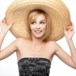 Young woman with a sombrero hat - Stock Photo
