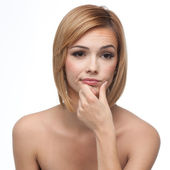 Portrait of a young woman looking borred — Stock Photo