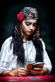 A portrait of a gypsy fortune teller. — Stock Photo
