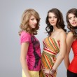 Colorful studio portrait three beautiful young women looking sty - Stock Photo