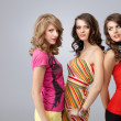 Colorful studio portrait three beautiful young women looking sty — Stock Photo #5342213