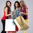 Studio image three beautiful young women holding shopping bags l — Stock Photo #5342219