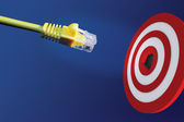 Internet cable in front of centre of target — Stock Photo