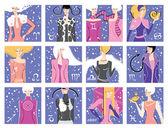 星座运势的妇女 — 图库矢量图片