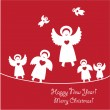 Congratulating-on-New-Year-and-Christmas-is-happy-angels — Stock Vector