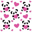 Pattern-love-panda — Stock Vector