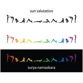 Yoga surya namaskara — Stok Vektör