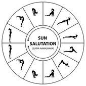 Yoga-sat-selamlama — Stok Vektör