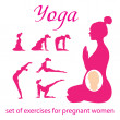 Royalty-Free Stock Vector Image: Set-of-exercises-for-pregnant-women
