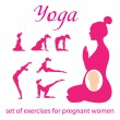 Set-of-exercises-for-pregnant-women - Stock Vector