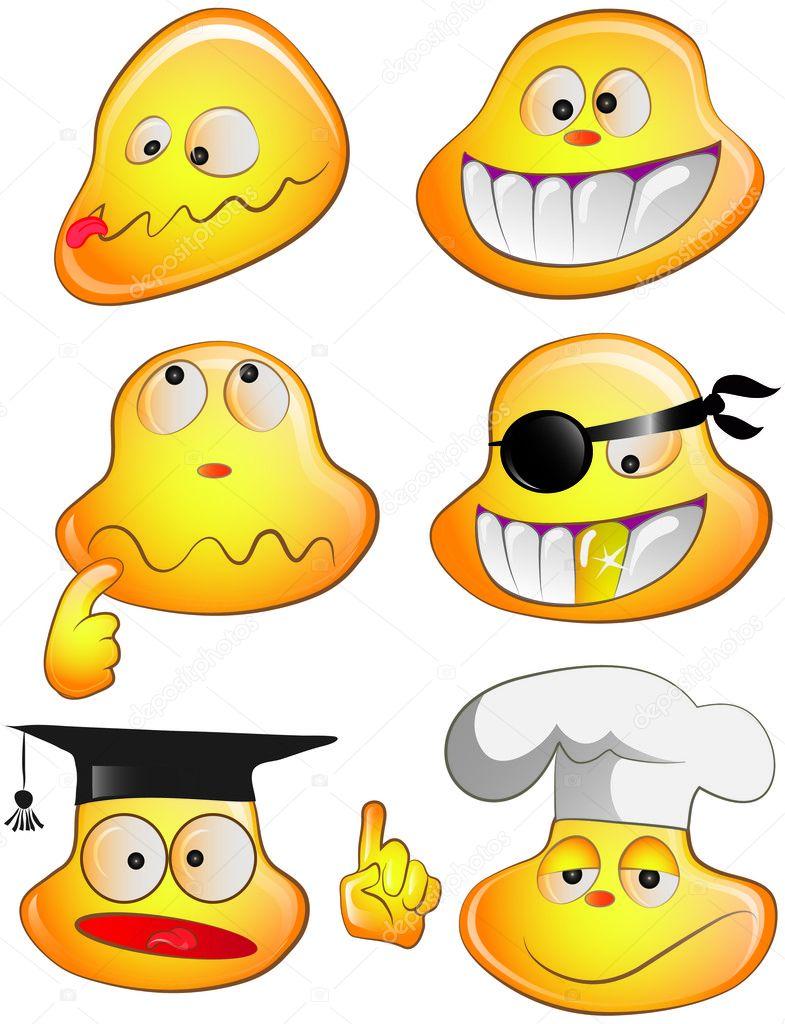Set of funny smiles stock vector maxlarin 4346565 for Garderoben set funny