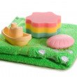 Towel soap sponge toy boat — Stock Photo
