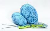 Knitting yarn balls knitting needles — Stock Photo