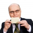 Businessman card in hand — Stock Photo