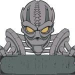 Cyborg banner template — Stock Vector