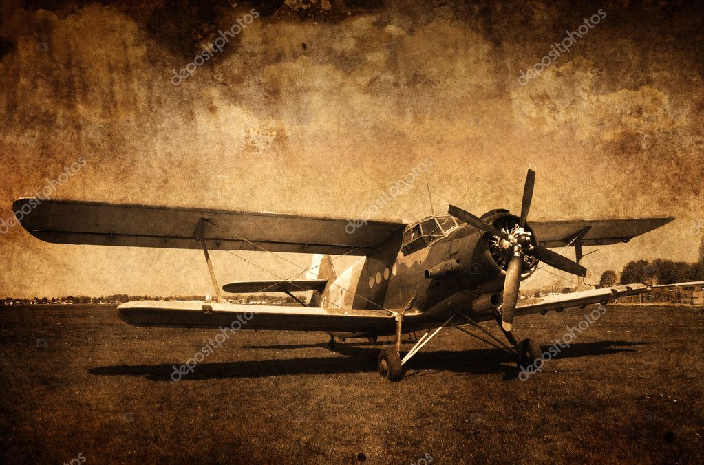 Old vintage picture of aircraft — Stock Photo #4351352