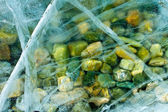 Abstraction from the frozen ice and stones — Stock Photo