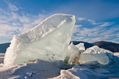 Crack in an ice of Baikal with formation of ice hummocks — Stock Photo