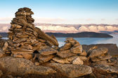 Tower from stones on mountain — Stock Photo