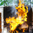 Stock Photo: Grill flame