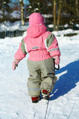 Child Pulling sledges — Stock Photo
