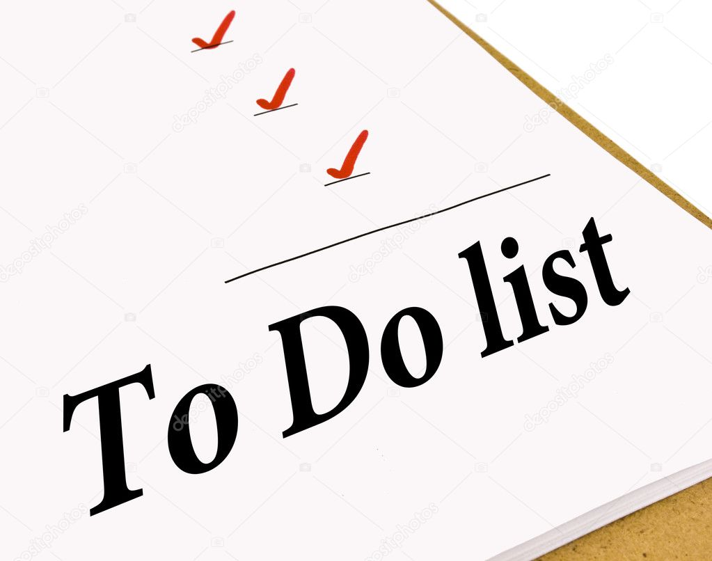 To Do list with check marks isolated on white — Stock Photo #4365878