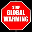 Stop Global Warming Sign Isolated on Black — Stock Photo #4380519