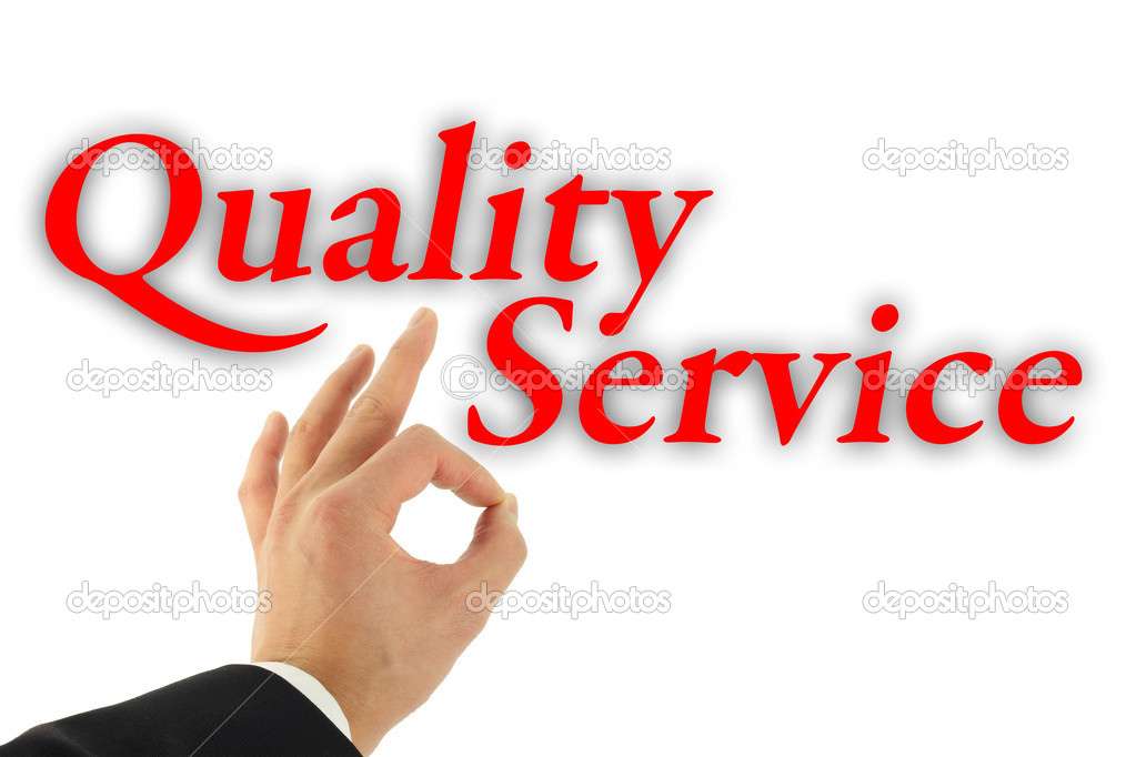 Quality service concept with hand okay sign isolated on white — Stock Photo #4380286
