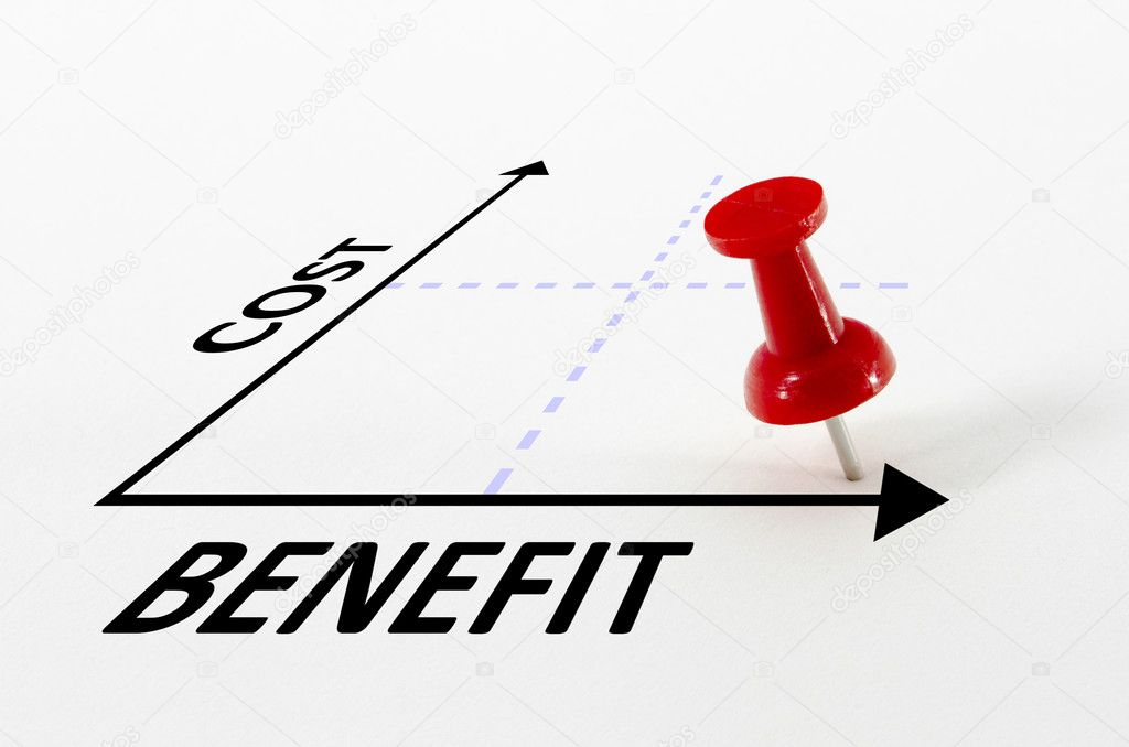 Cost benefit analysis concept on a graph with a thumb nail pin target marker — Stock Photo #5323583
