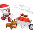 3d delivery of santa and rudolf - Stock Photo
