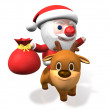 3d santa's funny rudolf riding — Stock Photo