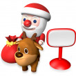 3d santa and rudolf beside the signboard - Stock Photo
