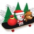 3d christmas cheerful skateboarding - Stock Photo