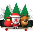 Stock Photo: 3d santa's exciting winter sports