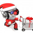 3d techno shopping of santa - Stock Photo