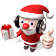 Stock Photo: 3d telemarketer santclaus