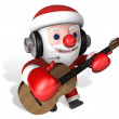 Christmas music time of 3d santa — Stock Photo