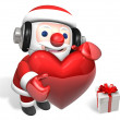 3d santa and christmas heart — Stock Photo