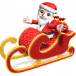 3d santa's funny sled driving — Stock Photo