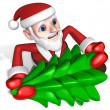 3d santa making christmas tree — Stock Photo