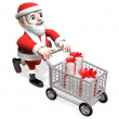 Royalty-Free Stock Photo: Happy shopping of 3d santa