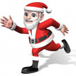 Exciting running 3d santa — Stock Photo