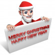 3d santa claus and white board — Stock Photo